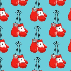 boxing gloves on string - red on blue - LAD19