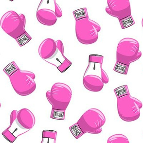 boxing gloves  - pink on white - LAD19