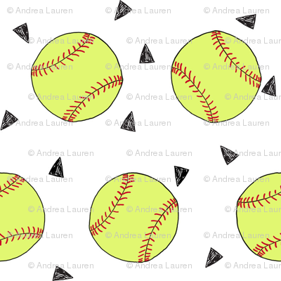 SMALL - softball fabric - yellow softball fabric, softballs fabric, girls fabric, sports fabric, sports ball, sports -  white