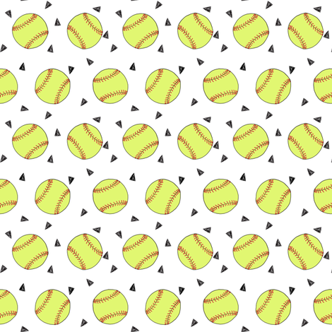 SMALL - softball fabric - yellow softball fabric, softballs fabric, girls fabric, sports fabric, sports ball, sports -  white fabric by andrea_lauren on Spoonflower - custom fabric