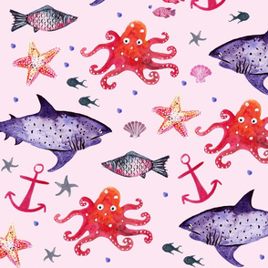 Under the Sea Pink Ground (Larger Scale)