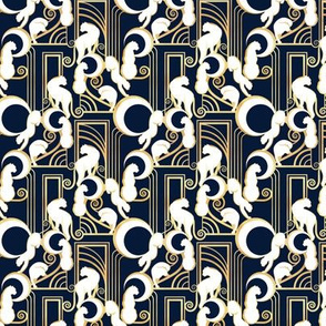 Deco Gatsby Panthers // tiny scale // navy and gold