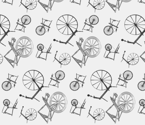 Wheel Jumble in Grey fabric by spunky_eclectic on Spoonflower - custom fabric