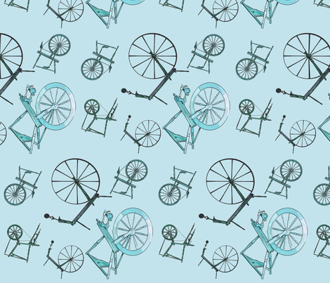 Wheel Jumble in Teal fabric by spunky_eclectic on Spoonflower - custom fabric