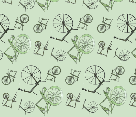 Wheel Jumble in Green fabric by spunky_eclectic on Spoonflower - custom fabric