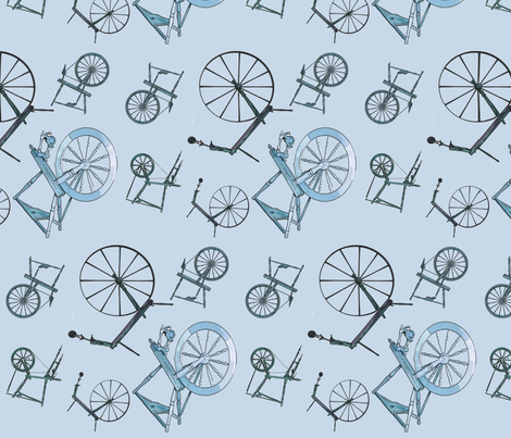 Wheel jumble in Blue fabric by spunky_eclectic on Spoonflower - custom fabric