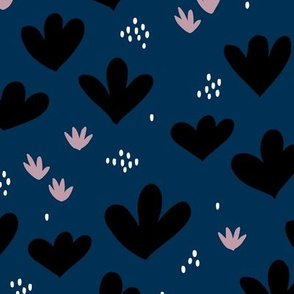 Little abstract coral flowers paper cut modern abstract pond beach theme navy blue black