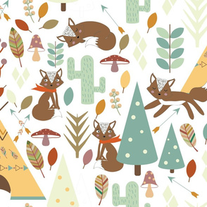 Foxes seamless pattern