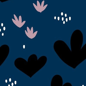 Little abstract coral flowers paper cut modern abstract pond beach theme navy blue black JUMBO