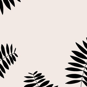 Palm leaves abstract minimal botanical summer garden monochrome black off white JUMBO