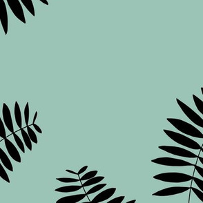 Palm leaves abstract minimal botanical summer garden monochrome black mint JUMBO
