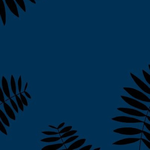 Palm leaves abstract minimal botanical summer garden monochrome black navy blue winter JUMBO