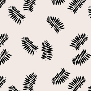Palm leaves abstract minimal botanical summer garden monochrome black off white