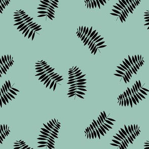 Palm leaves abstract minimal botanical summer garden monochrome black mint