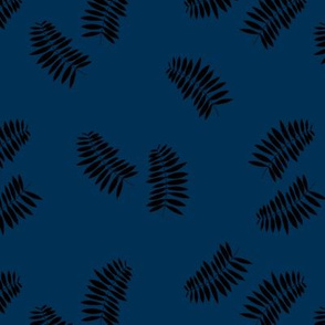 Palm leaves abstract minimal botanical summer garden monochrome black navy blue winter