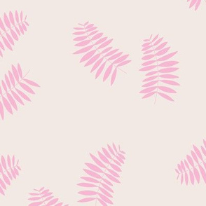 Palm leaves abstract minimal botanical summer garden pink off white