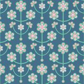 Folk Daisy Floral Pink Blue Green
