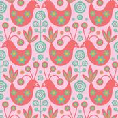 Folk Birds Mid-Century Modern Pink Orange Turquoise