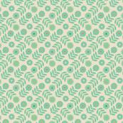 Folk Daisy Geometrical Floral Polka Dot Green