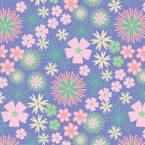 Folk Floral Garden Ditsy Purple Pink White Green