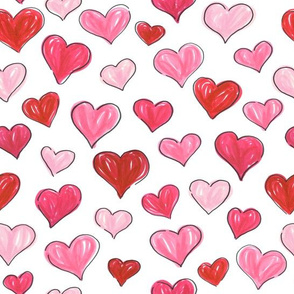 Graphic Marker Hearts- Random // hand-drawn valentines red pink heart fabric giftwrap