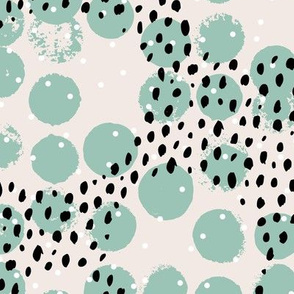 Abstract rain raw brush spots and dots cool trendy pastel minimal animal skin black mint off white