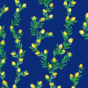 watercolor lemon vines on dark blue   large scale