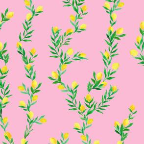 watercolor lemon vines on deep pink   large scale