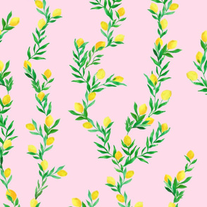 watercolor lemon vines on pink   large scale