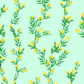 watercolor lemon vines on mint green   large scale