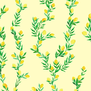watercolor lemon vines on butter yellow   large scale
