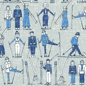 vintage ski linen blue