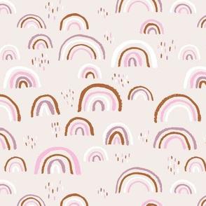 Rainbow love Scandinavian abstract rainbow clouds happy rain sky pink copper