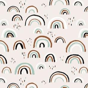 Rainbow love Scandinavian abstract rainbow clouds happy rain sky mint copper