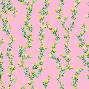 watercolor lemon vines on deep pink   medium scale