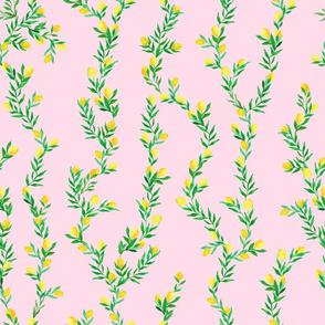 watercolor lemon vines on pink   medium scale