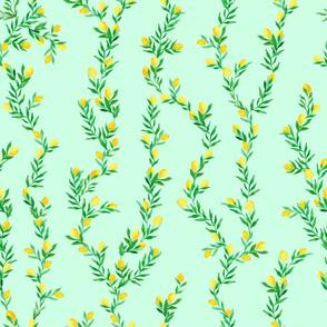 watercolor lemon vines on mint green   medium scale
