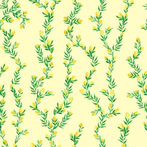 watercolor lemon vines on butter yellow   medium  scale