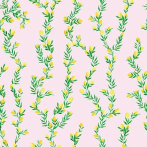 watercolor lemon vines on light pink   medium scale