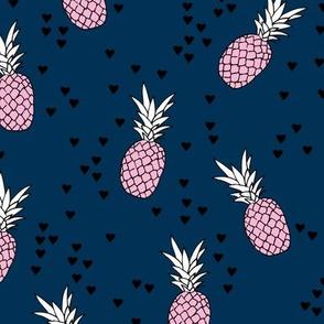 Tropical pineapple garden botanical summer boho print pink blue