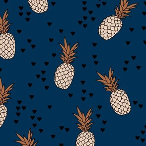 Tropical pineapple garden botanical summer boho print navy blue copper