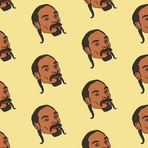 snoop fabric - snoop dog fabric, rap artist musician hip hop mogul fabric - yellow