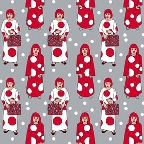 yayoi kusama - red and white dots, dots, dot, art, artist, woman fabric - grey