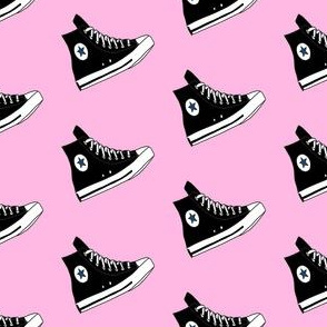hi tops fabric - sneakers fabric, retro shoes fabric, retro - black
