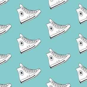 hi tops fabric - sneakers fabric, retro shoes fabric, retro - white on blue
