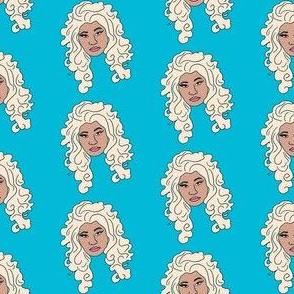 nicki - platinum blonde, wig, singer, rapper, artist, woman, female - blue