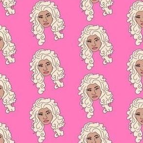 nicki - platinum blonde, wig, singer, rapper, artist, woman, female - pink