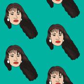 selena fabric - singer, artist, woman - bright teal