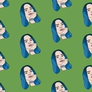 billie - emo queen, blue hair, 2019, music, pop music fabrc -green