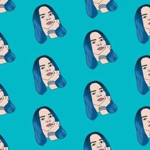 billie - emo queen, blue hair, 2019, music, pop music fabrc - teal